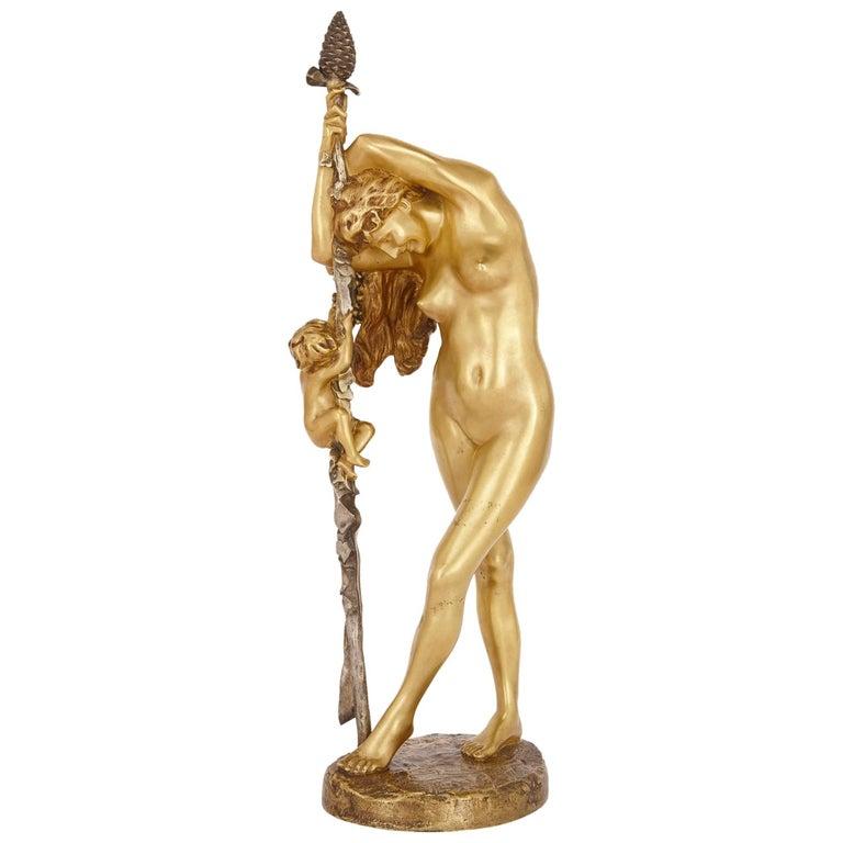 19th Century French Gilt Bronze Sculpture of a Baccante, by Jean-Léon Gérôme For Sale