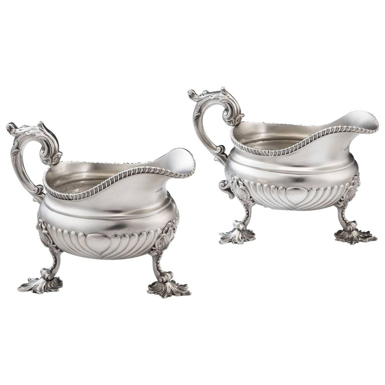 Very Unusual Pair of George III Sauceboats by William Burwash For Sale