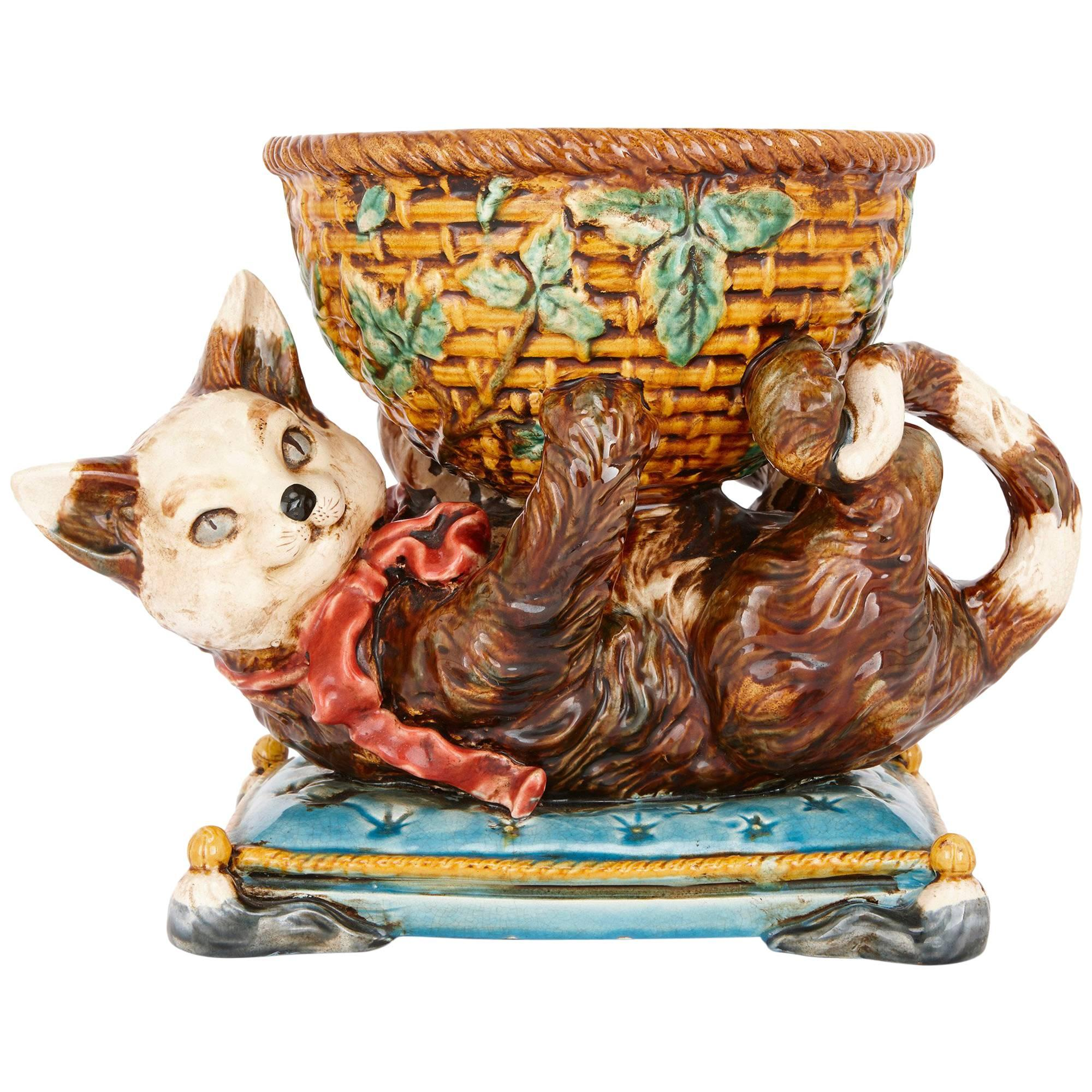 Antique Majolica Bowl with Cat by Jerome Massier