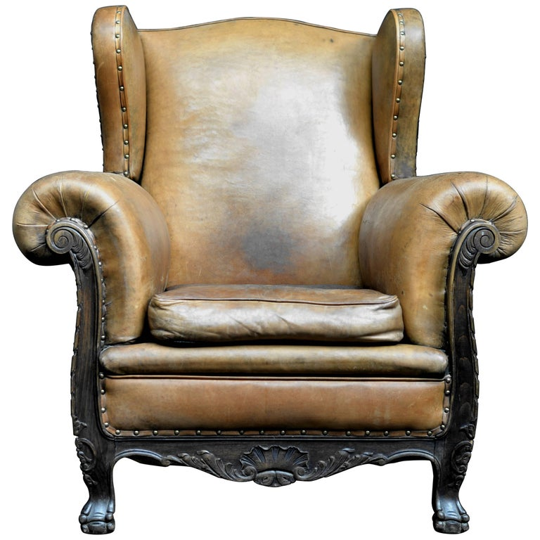 Mid-20th Century Dutch Rolled Up Armrests High Back Leather Chair