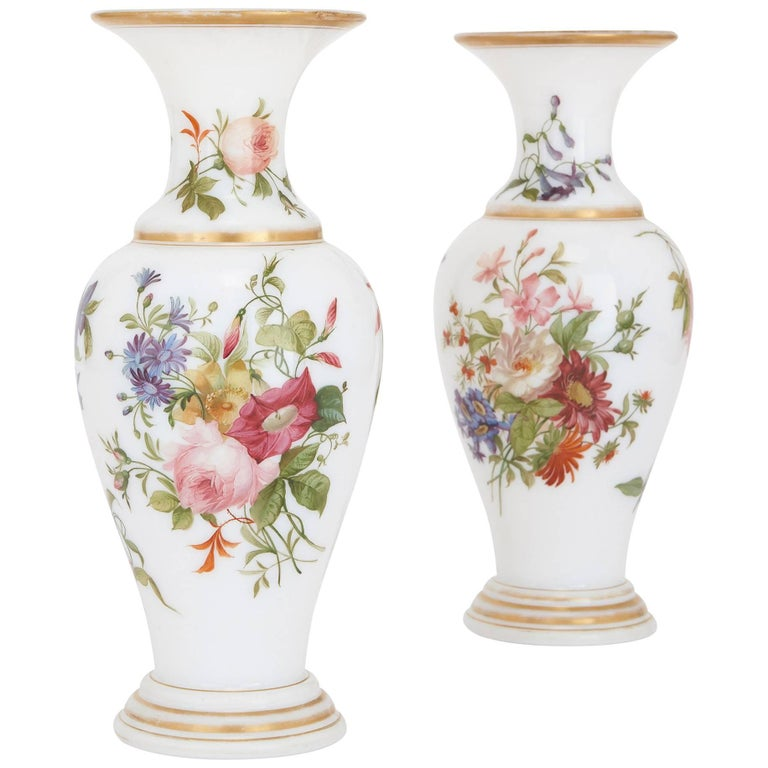 Pair of Floral Opaline Glass Vases Attributed to Baccarat For Sale