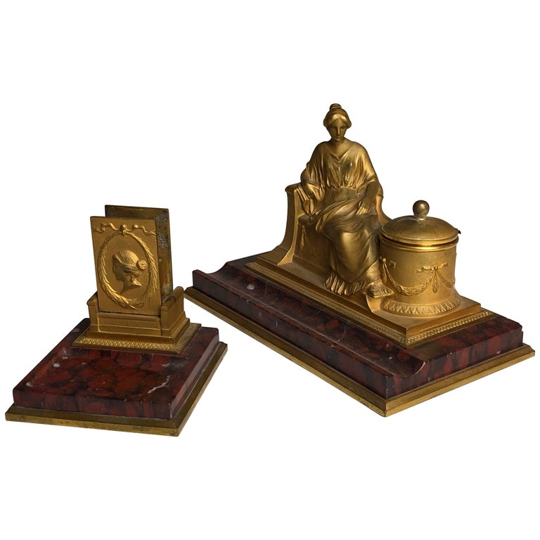 19th Century Two-Piece Grand Tour Desk Set, Inkwell and Striker, circa 1880