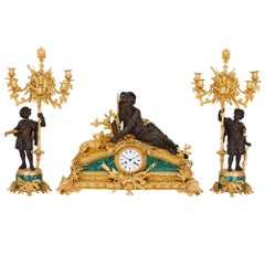 Hunting themed malachite and bronze antique clock set