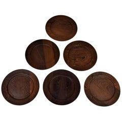 Set of Six Danish Midcentury Cover Plates by Ehrenreich, Wenge
