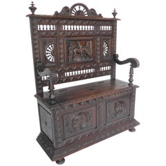 Carved Oak Bench or Settle