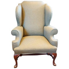Georgian Style Wing Chair in Khaki Tweed Material