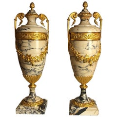 Antique Pair of Ormolu-Mounted Marble Urns, French, circa 1870