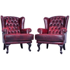 Set of Two Chesterfield Armchair Oxblood Red Vintage Retro Wood Handmade