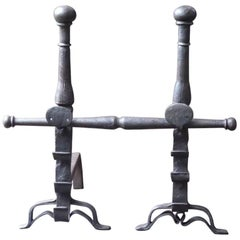 17th Century Large Louis XIII Andirons or Firedogs