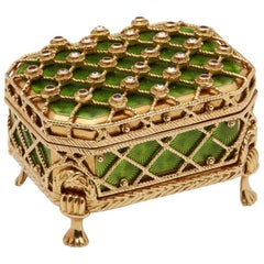 Victor Mayer, Modern Faberge 18ct Gold Pill Box & Stand