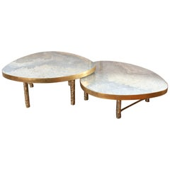 Double Coffee Table in Cast Brass and Onyx, Meteoris by Arriau