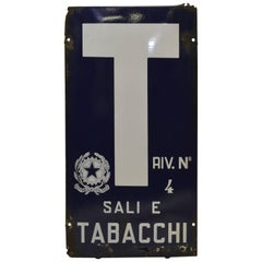 1960s Blue and White Italian Vintage Enamel Tobacco Sign 'Sali e Tabacchi'