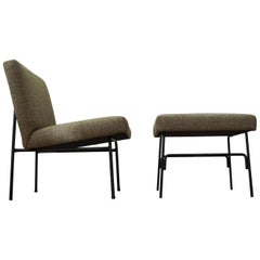 Allan Gould Iron Lounge Chair and Ottoman, 1950s