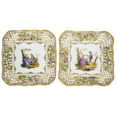 Antique Pair of German Dresden Porcelain Reticulated Dishes 19th Century