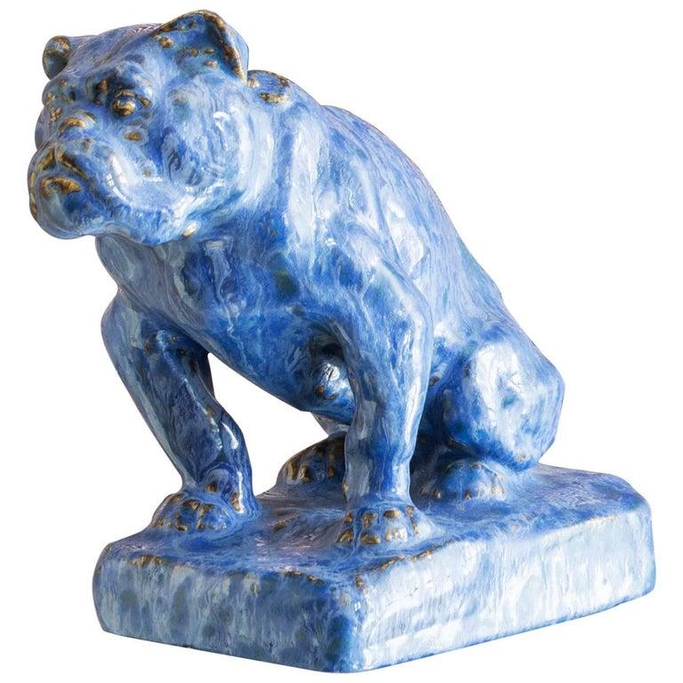 Vintage Ceramic Bulldog Sculpture For Sale