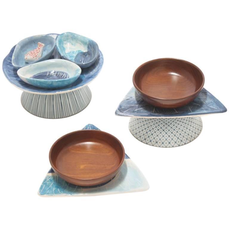 Brazilian Contemporary Set of Appetizer Ceramic Bowls by Rodrigo Almeida For Sale