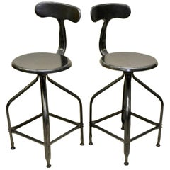 1960s French Nicolle Industrial Vintage Adjustable Metal High Stools