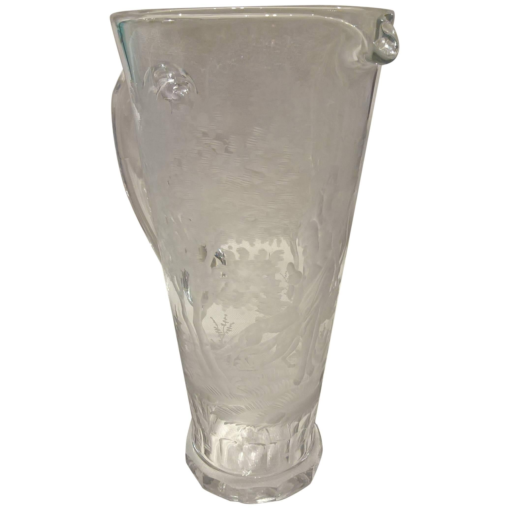 Moser Art Deco Glass Pitcher Hand-Engraved with Diana and Wolfs in Clear Crystal