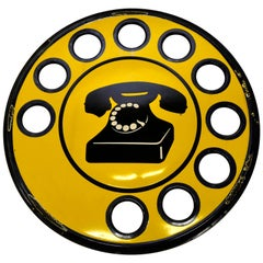 1960s Yellow Enamel Metal Vintage Italian Telephone Sign, Sip