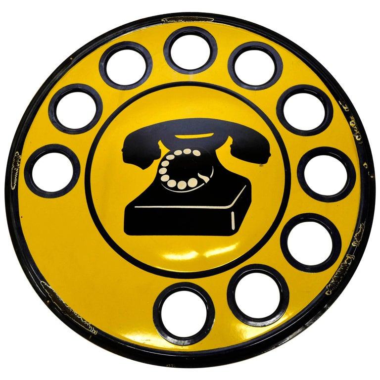 1960s Yellow Enamel Metal Vintage Italian Telephone Sign, Sip