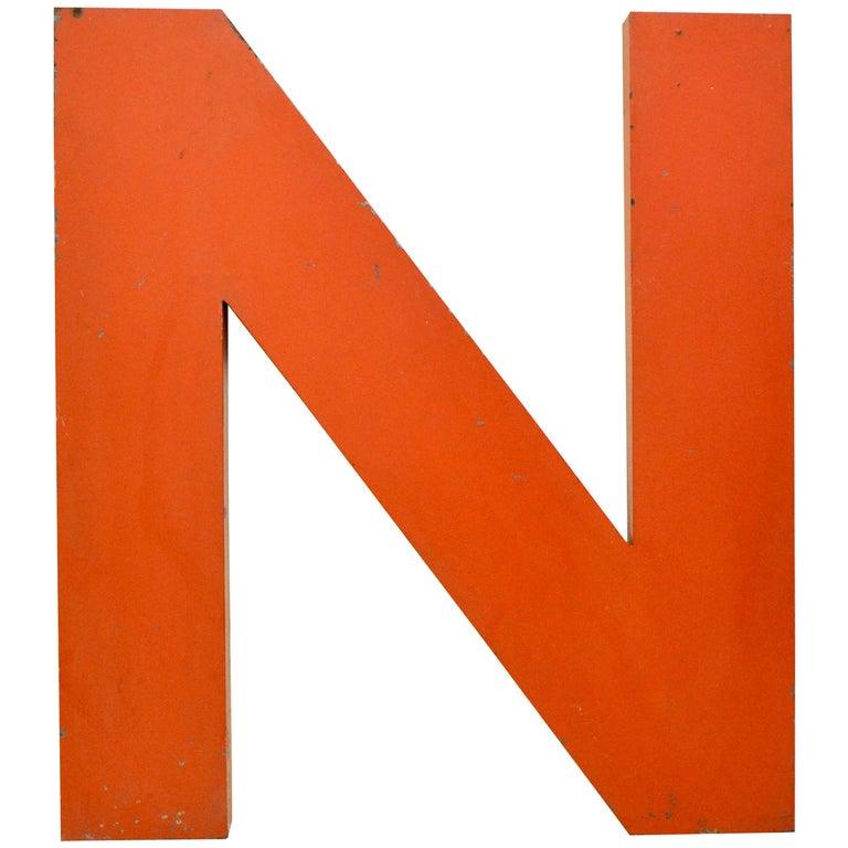 1950s Orange French Metal Letter Citroën Sign