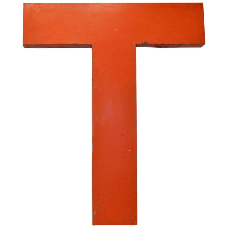 1950s Orange Metal Vintage French Letter Citroën Sign