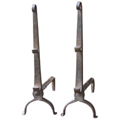 17th Century French Louis XIII Andirons or Firedogs