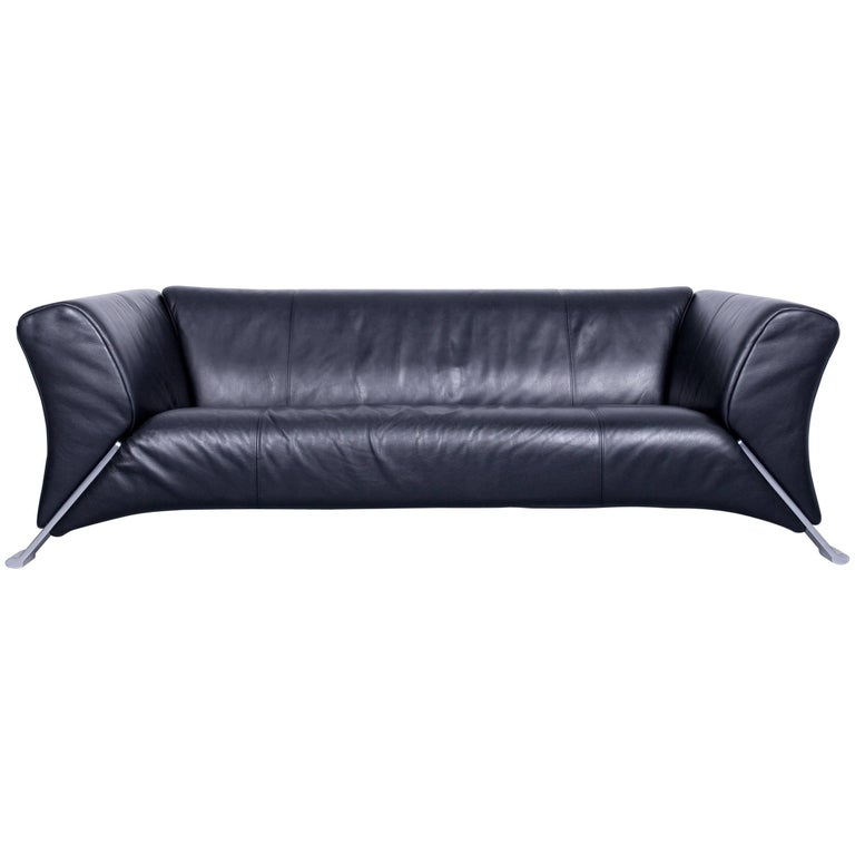 Rolf Benz 322 Designer Sofa Black Three-Seat Leather Modern Couch ...