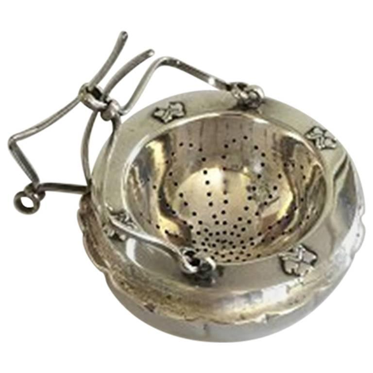 Danish Tea Strainer and Holder in Silver