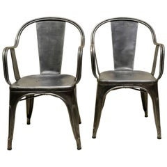 1950s Xavier Pauchard Pair of Vintage Metal French Armchairs, Tolix