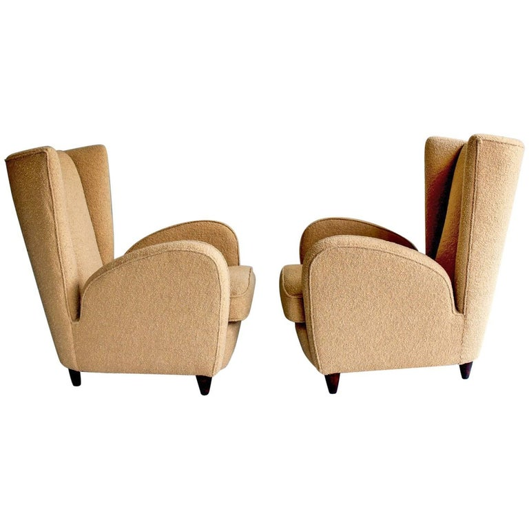 Pair of Cream Armchairs, circa 1950s, Attributed to Paolo Buffa