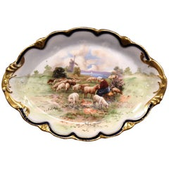 Early 20th Century French Hand-Painted Porcelain Plate with Sheep from Limoges