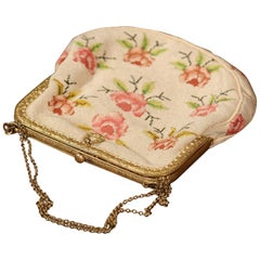 19th Century French Needlepoint Purse with Brass Strap and Lock