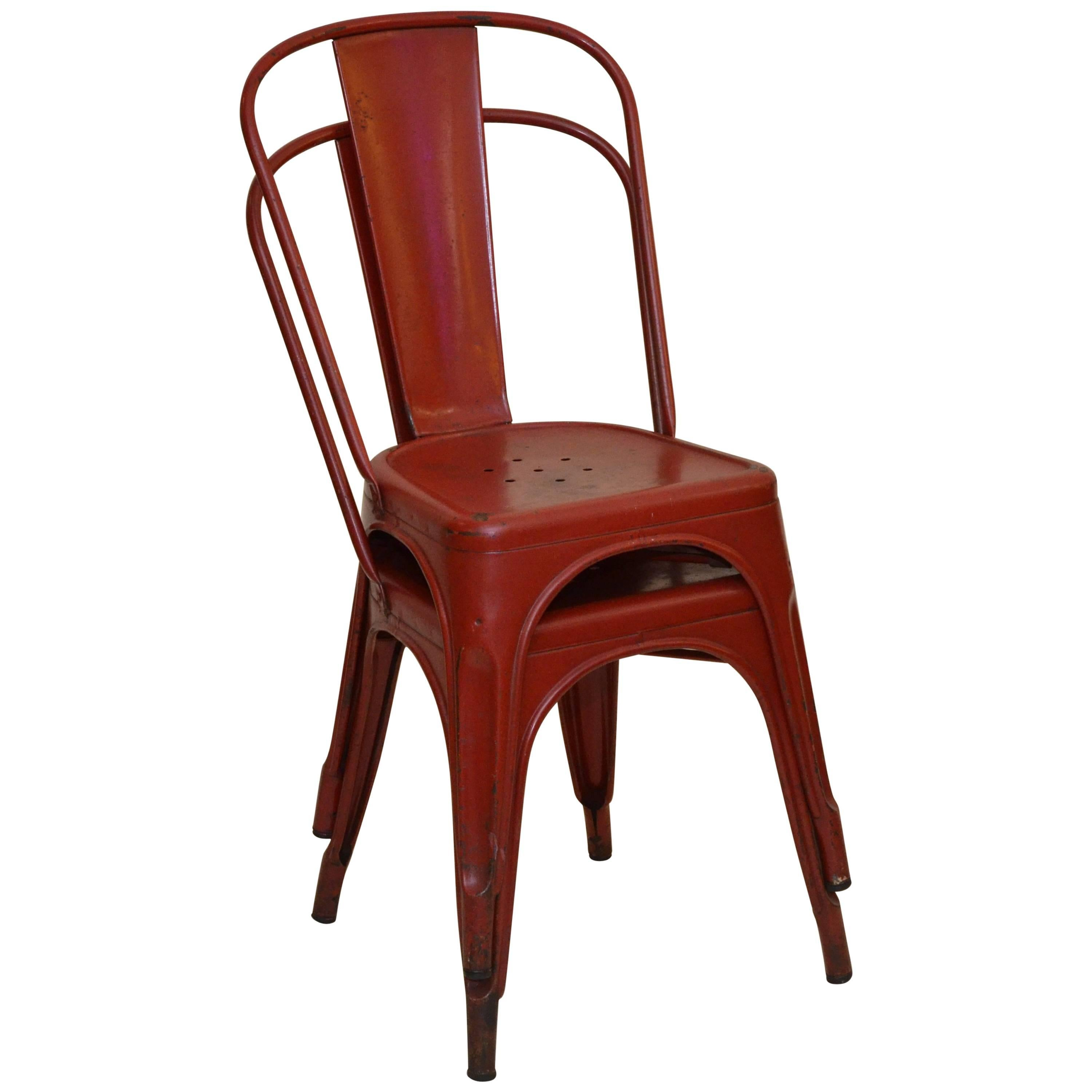 1950s Xavier Pauchard Pair Of Industrial Vintage Red Metal French Chairs,  Tolix For Sale At 1stdibs
