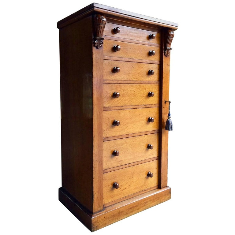 Antique wellington campaign chest of drawers walnut for Furniture wellington