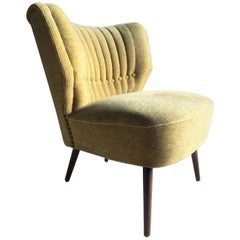 Cocktail Chair Club Chair Midcentury Art Deco Style Yellow, circa 1950s