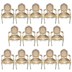 Wonderful French White Gold Gilt Oval Back Fluted Bow Set 14 Chairs Scalamandre