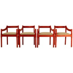 Four Red Carimate Chairs by Vico Magistretti for Cassina, 1960s