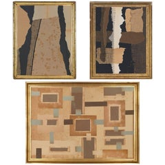 Set of Abstract Collages of Ancient Paper by Belgian Artist Anne Lebeau
