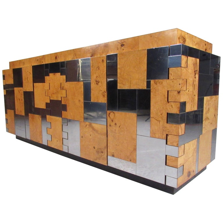 Paul Evans Cityscape Credenza in Burl and Chrome by Directional