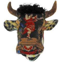 Folk Art Porcelain Bull with Vintage & Antique Textiles