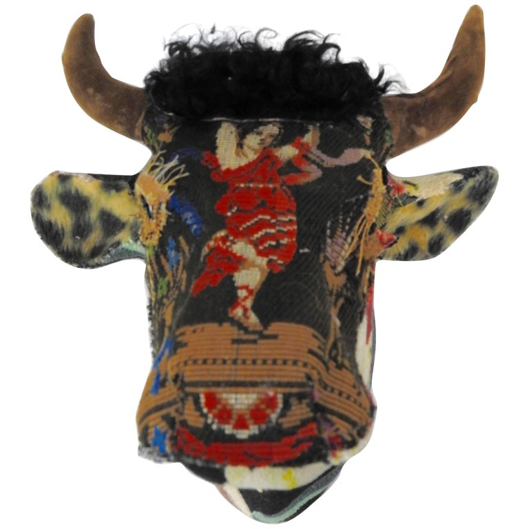 Folk Art Porcelain Bull with Vintage & Antique Textiles For Sale