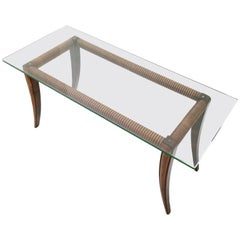 Rectangular Maple and Wood Coffee Table with a Thick Glass Top, Italy, 1940s