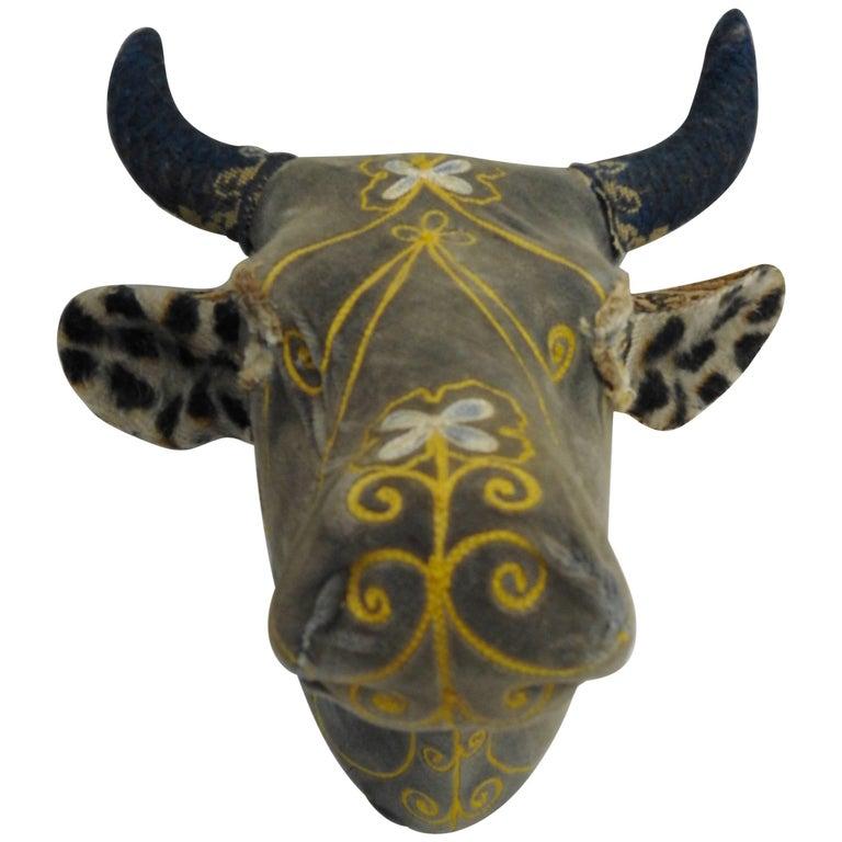 Folk Art Porcelain Heifer with Vintage & Antique Textiles For Sale