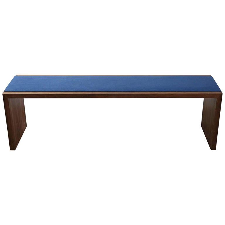 Walnut Bench with Blue Woven Upholstery