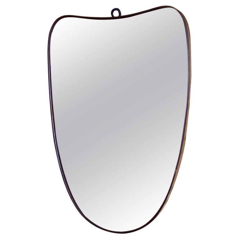 Small Organic 1950s Italian Brass Mirror