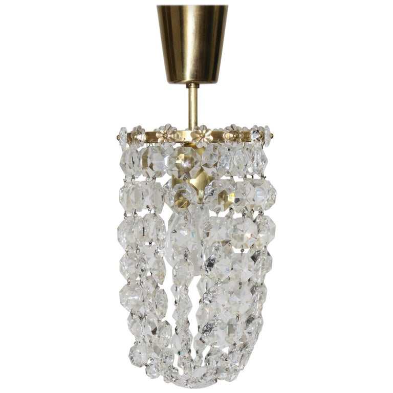 Crystal Glass Chandelier by Bakalowits & Soehne Vienna, 1950s For Sale