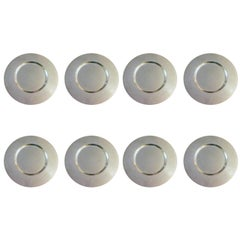 Set of Eight Beautiful Modern Charger Plates in Sterling Silver