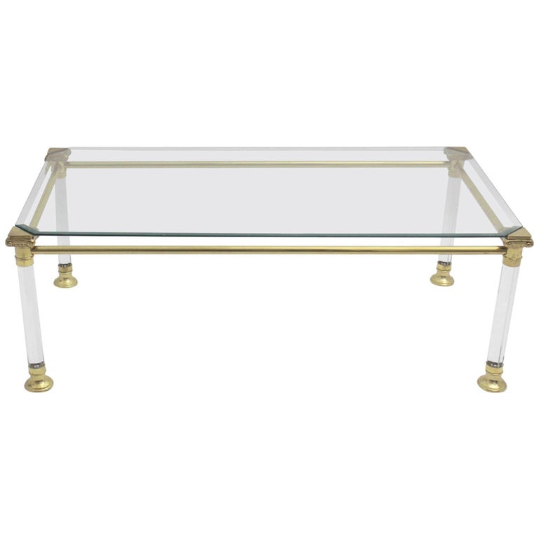 Hollywood Regency Lucite Coffee Table, Italy, 1970s For Sale