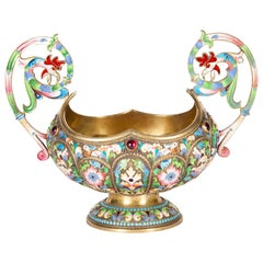 Russian Cloisonne Enamel, Silver Gilt and Semi-Precious Stone Bowl